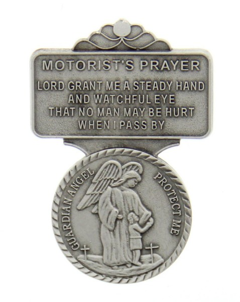 "Guardian Angel Motorist's Prayer Visor Clip, Pewter - 2 1/4""H - Silver"
