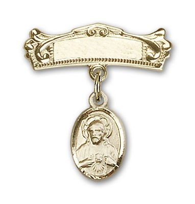 Baby Pin with Scapular Charm and Arched Polished Engravable Badge Pin - Gold Tone