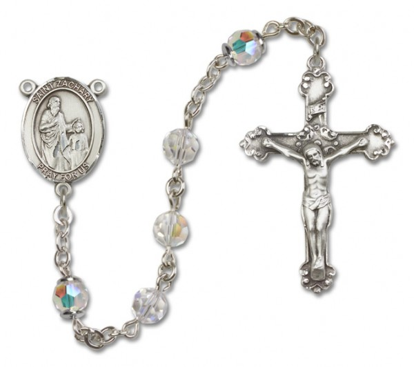 St. Zachary Sterling Silver Heirloom Rosary Fancy Crucifix - Crystal