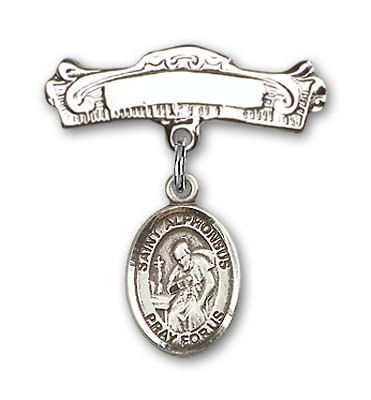 Pin Badge with St. Alphonsus Charm and Arched Polished Engravable Badge Pin - Silver tone