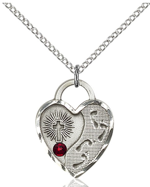 Heart Shaped Footprints Pendant with Birthstone Options - Garnet