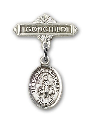 Baby Badge with Lord Is My Shepherd Charm and Godchild Badge Pin - Silver tone