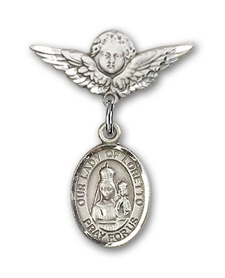 Pin Badge with Our Lady of Loretto Charm and Angel with Smaller Wings Badge Pin - Silver tone