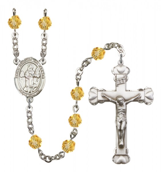 Women's St. Isidore the Farmer Birthstone Rosary - Topaz