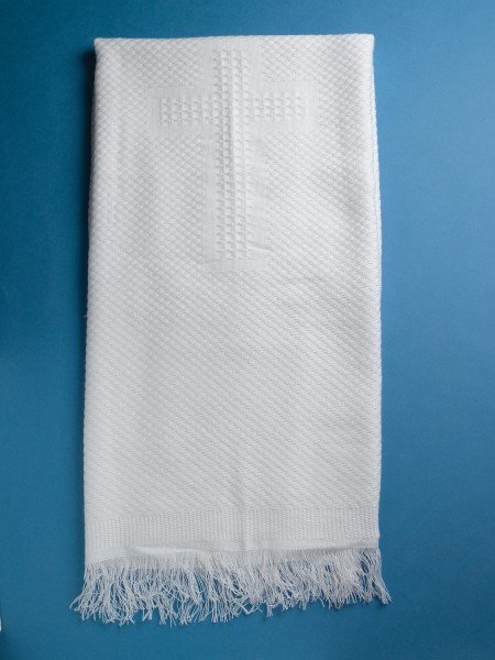 "Knit Blanket with ""5 Cross Design"" Embroidery   - White"