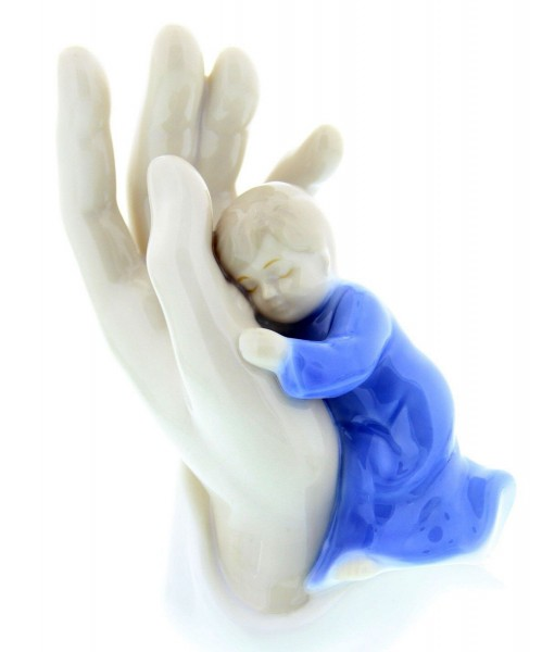 God's Hand with Sleeping Baby Boy Figurine - Blue