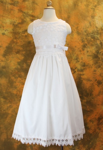 First Communion Dress Cotton with Floral Embroidered Bodice & Hemline - White