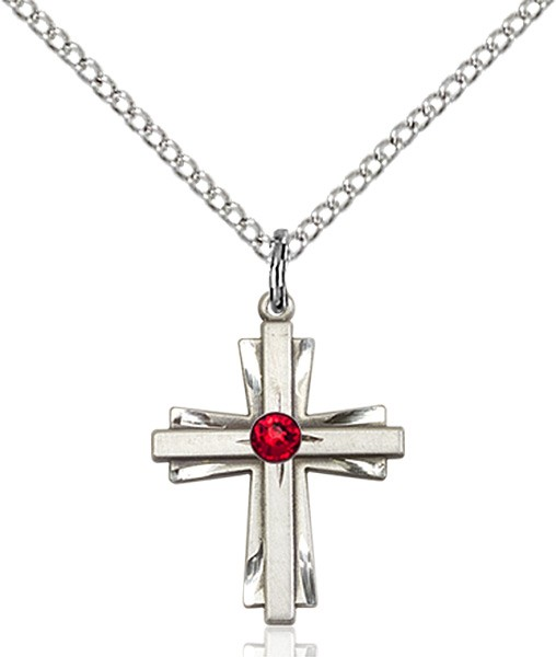Youth Etched Cross Pendant with Birthstone Options - Ruby Red