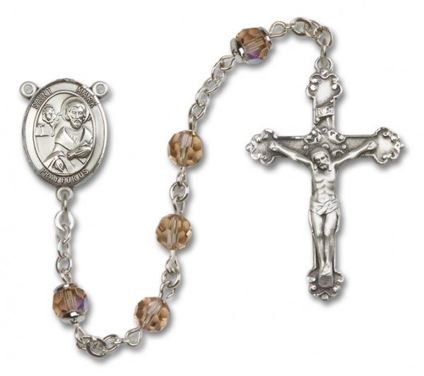 St. Mark the Evangelist Sterling Silver Heirloom Rosary Fancy Crucifix - Topaz