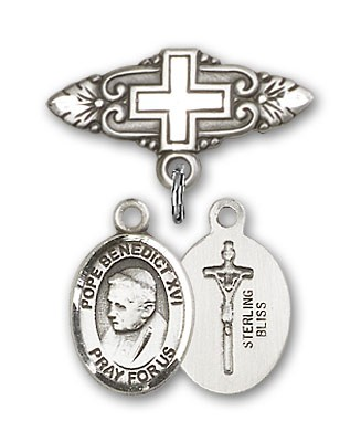 Pin Badge with Pope Benedict XVI Charm and Badge Pin with Cross - Silver tone