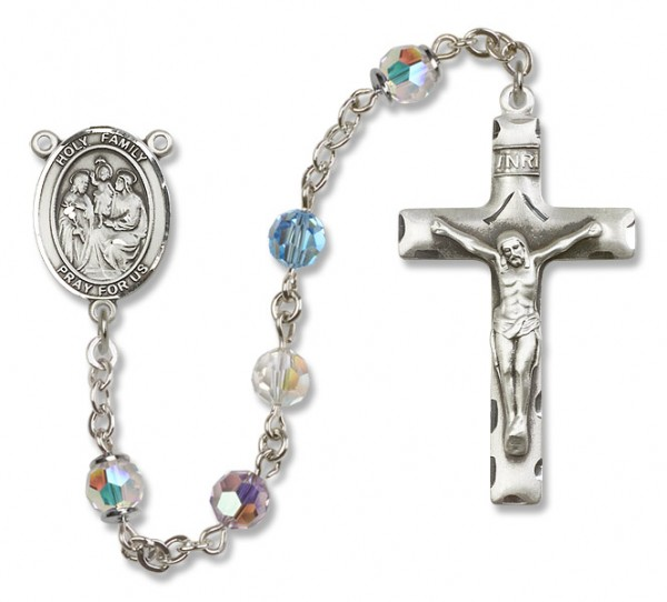 Holy Family Rosary Heirloom Squared Crucifix - Multi-Color