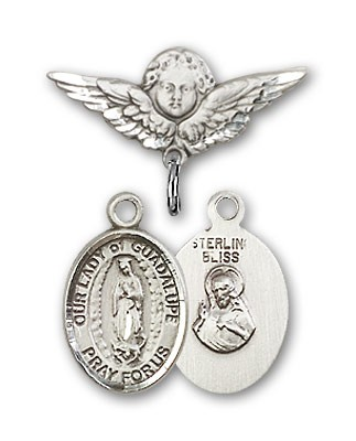 Pin Badge with Our Lady of Guadalupe Charm and Angel with Smaller Wings Badge Pin - Silver tone