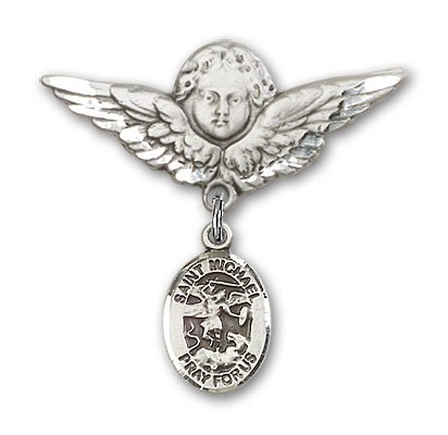 Pin Badge with St. Michael the Archangel Charm and Angel with Larger Wings Badge Pin - Silver tone