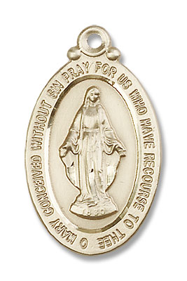 Men's Smaller Miraculous Medal Necklace - 14K Solid Gold