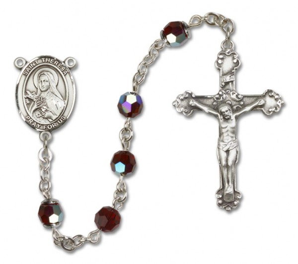 St. Theresa Sterling Silver Heirloom Rosary Fancy Crucifix - Garnet