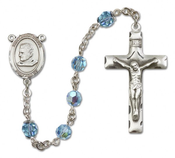 St. John Bosco Sterling Silver Heirloom Rosary Squared Crucifix - Aqua