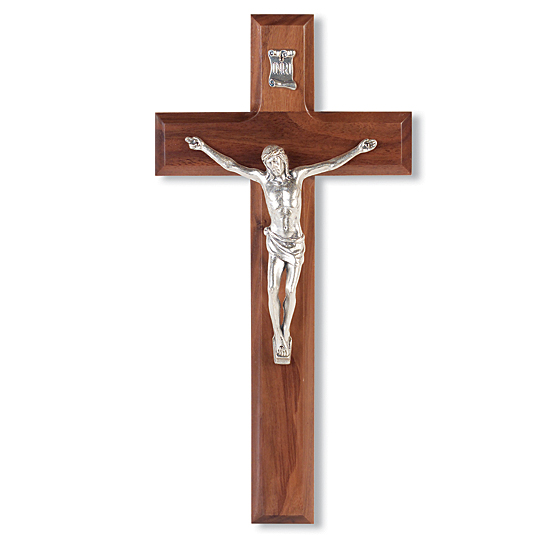 Genuine Pewter Corpus and Walnut Wall Crucifix - 10 inch - Brown