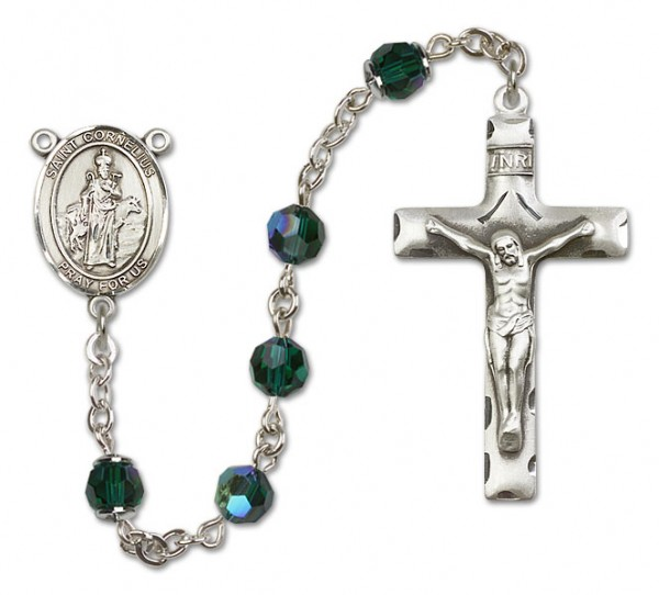 St. Cornelius Sterling Silver Heirloom Rosary Squared Crucifix - Emerald Green