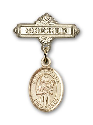 Pin Badge with St. Agatha Charm and Godchild Badge Pin - 14K Solid Gold