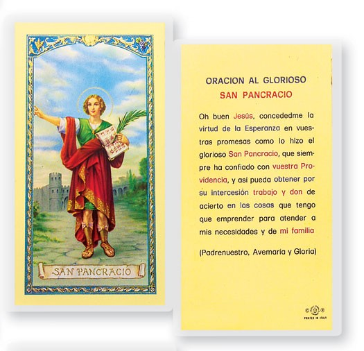 Oracion A San Pancracio Laminated Spanish Prayer Cards 25 Pack - Full Color