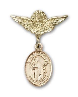 Pin Badge with St. Brendan the Navigator Charm and Angel with Smaller Wings Badge Pin - 14K Solid Gold