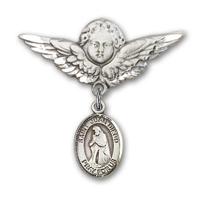 Pin Badge with St. Juan Diego Charm and Angel with Larger Wings Badge Pin - Silver tone