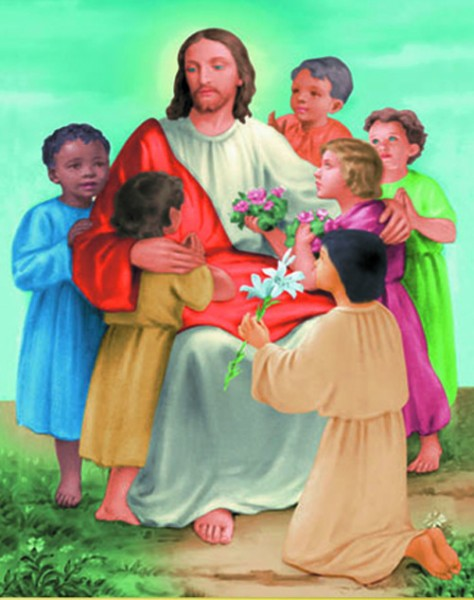 Christ with Children Print - Sold in 3 per pack - Multi-Color