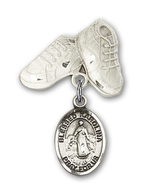 Pin Badge with Blessed Karolina Kozkowna Charm and Baby Boots Pin - Silver tone