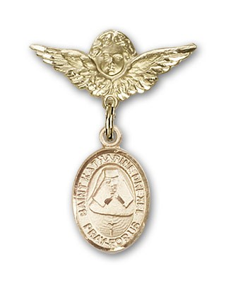 Pin Badge with St. Katherine Drexel Charm and Angel with Smaller Wings Badge Pin - 14K Yellow Gold