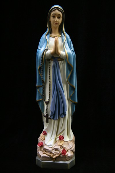 Our Lady of Lourdes Statue Blue and Gold Robe- 19 inch - Multi-Color