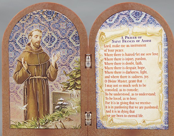 St. Francis Diptych Standing Prayer Plaque - Full Color