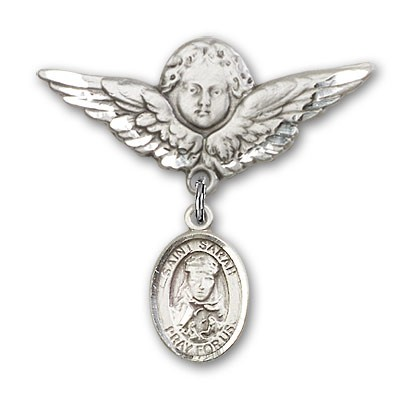 Pin Badge with St. Sarah Charm and Angel with Larger Wings Badge Pin - Silver tone