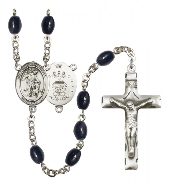 Men's Guardian Angel Air Force Silver Plated Rosary - Black Oval