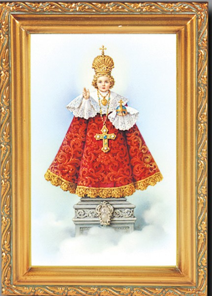 Infant of Prague Antique Gold Framed Print - Full Color