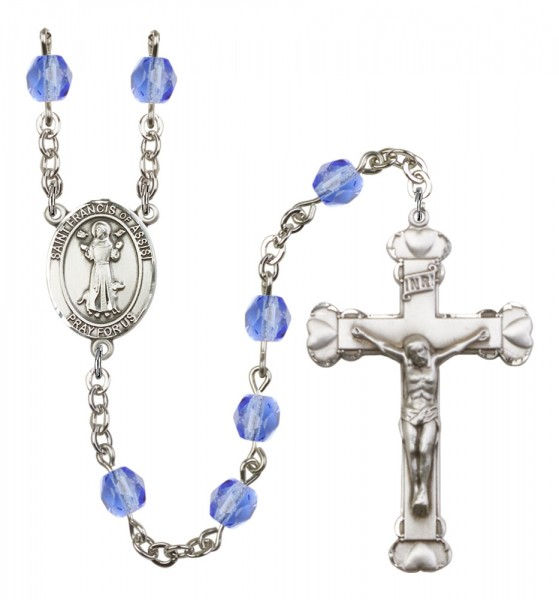 Women's St. Francis of Assisi Birthstone Rosary - Sapphire