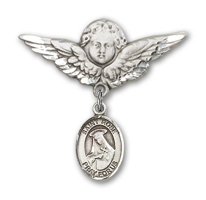 Pin Badge with St. Rose of Lima Charm and Angel with Larger Wings Badge Pin - Silver tone