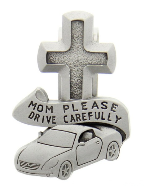 "Mom Please Drive Carefully Visor Clip, Pewter - 2 1/2""H - Silver"