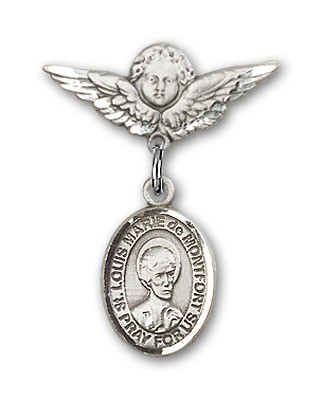 Pin Badge with St. Louis Marie de Montfort Charm and Angel with Smaller Wings Badge Pin - Silver tone