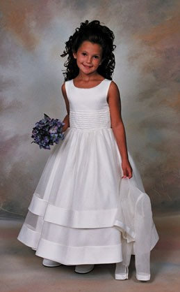 Plus Size First Communion Dress in Peau Satin and Organza with Jacket  - White
