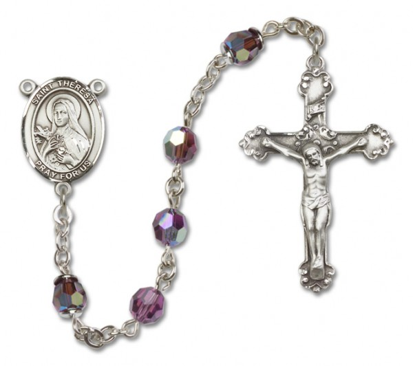 St. Theresa Sterling Silver Heirloom Rosary Fancy Crucifix - Amethyst