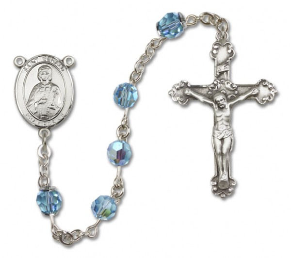 St. Gerard Sterling Silver Heirloom Rosary Fancy Crucifix - Aqua