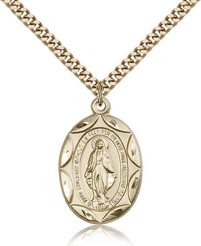 Large Blue Enamel Miraculous Medal Necklace - 14KT Gold Filled
