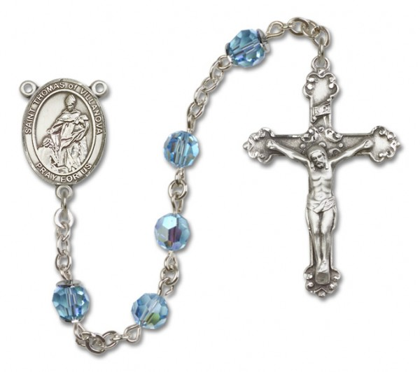 St. Thomas of Villanova Rosary Heirloom Fancy Crucifix - Aqua