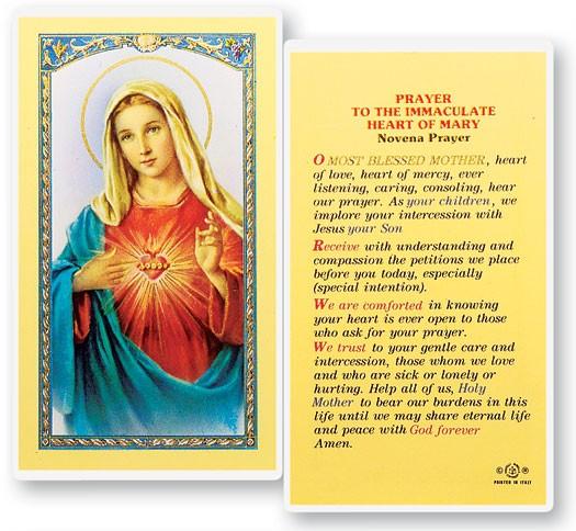 Novena Prayer To The Immaculate Heart of Mary Laminated Prayer Cards 25 Pack - Full Color
