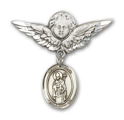 Pin Badge with St. Ronan Charm and Angel with Larger Wings Badge Pin - Silver tone