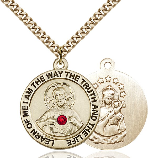 Round Scapular Pendant with Mt. Carmel Birthstone Option - 14KT Gold Filled
