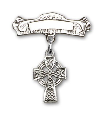 Pin Badge with Celtic Cross Charm and Arched Polished Engravable Badge Pin - Silver tone