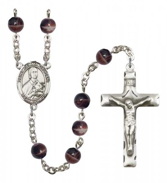 Men's St. Gemma Galgani Silver Plated Rosary - Brown