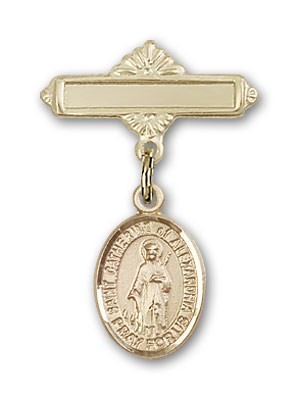 Pin Badge with St. Catherine of Alexandria Charm and Polished Engravable Badge Pin - Gold Tone