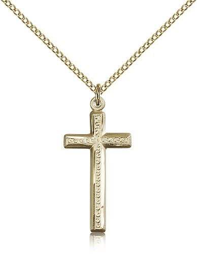 Women's Slimline Textured Cross Necklace - 14KT Gold Filled